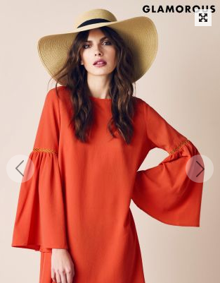 Orange Bell Sleeved dress