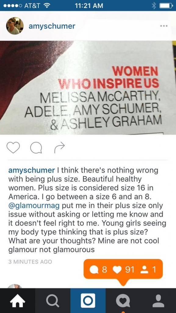 Amy schumer glamour tweet