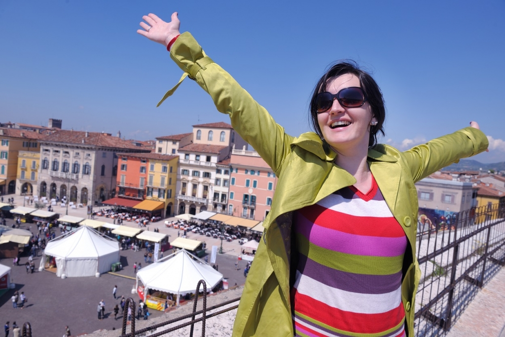 tourist woman in italian city verona